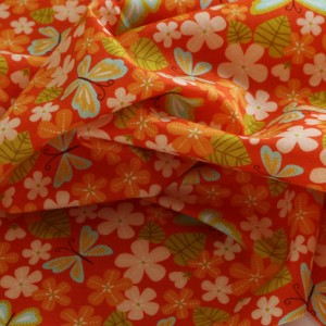 Moda Orange Flowers Fabric Material